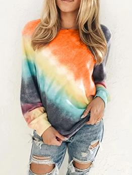Casual Colorful Tie Dye Long Sleeve Sweatshirt
