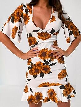 V Neck Print Short Sleeve Floral Dress