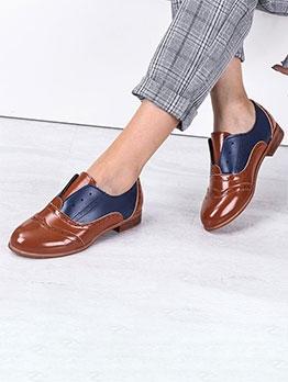 Vintage Contrast Color Women Flat Shoes