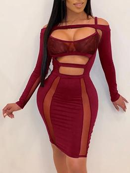 Sexy Hollow Out Nightclub Wind Bodycon Dress