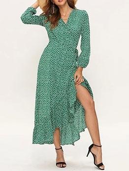 Ruffled Hem V Neck Green Floral Maxi Dress