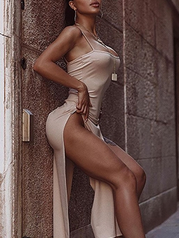Sexy High Split Hem Cami Evening Dress