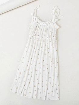 Sweet Floral Print Sleeveless Mini Dresses For Women