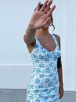 Euro Style Elastic Printed Sleeveless Dresses For Women