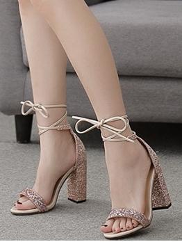 Glitter Chunky Heel Women Strappy Sandals