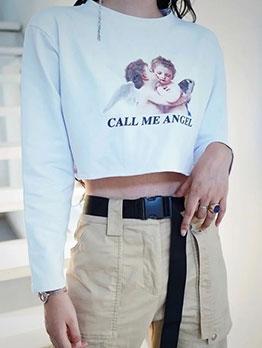 Fashion Crew Neck Long Sleeve Letter Cropped Sweatshirt