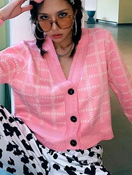 Button Up V Neck Plaid Ladies Cardigans