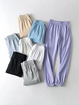 Pure Color Elastic Waist Casual Pants