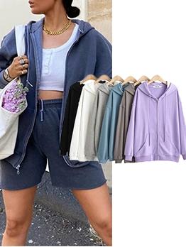 Casual Plain Long Sleeve Zip Up Hoodies