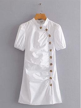 Simple Design Button Pure Short Sleeve Dress