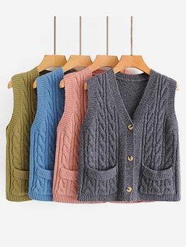 V Neck Pocket Horn Button Sweater Vest