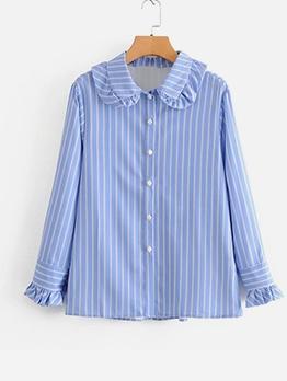 Stylish Doll Collar Long Sleeve Striped Blouse