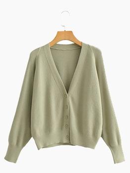 Solid Japanese V Neck Women Cardigan Sweater