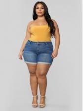 High Waist Plus Size Women Short Jeans