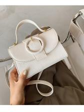 Crocodile Print Pure Color Shoulder Bag With Handle