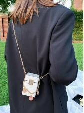 Crocodile Print Metal Pendant Chain Mini Croccbody Bags