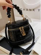 Double Zipper Pleated Handle Trendy Shoulder Bags