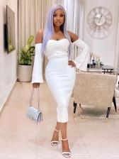 Off Shoulder Flare Sleeve Plain White Midi Dress