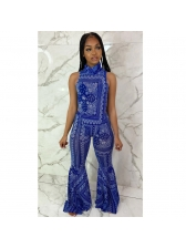 High Neck Printed Bell Bottom 2 Piece Outfits
