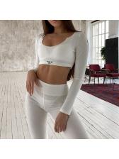Simple Solid Long Sleeve Skinny Tracksuit Set