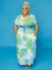 Tie Dye V Neck Plus Size Maxi Dresses