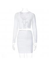 U Neck Solid Long Sleeve Skirt Set