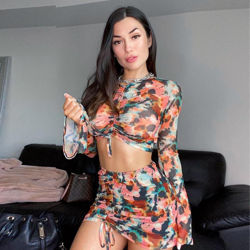Fashion Tie Dye Cropped 2 Piece Skirt Set