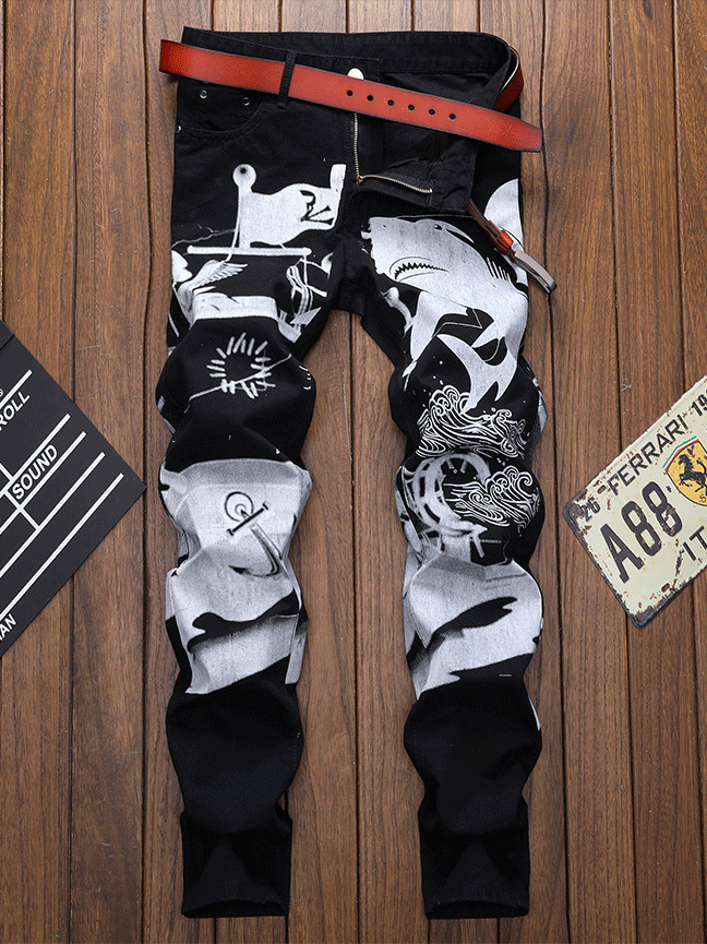 Chinese Style Printed Men Designer Jeans