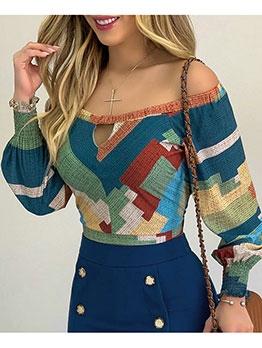 Boat Neck Color Block Trendy Ladies Blouse