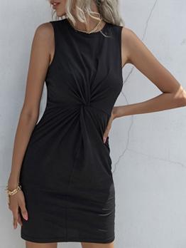 Black Color Sleeveless Pleated Women Dress
