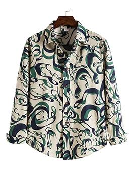 Fashion Print Long Sleeve Shirt For Men