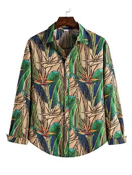 Summer Leaves Print Long Sleeve Casual Shirt