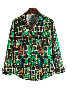 Colorblock Print Loose Mens Shirt