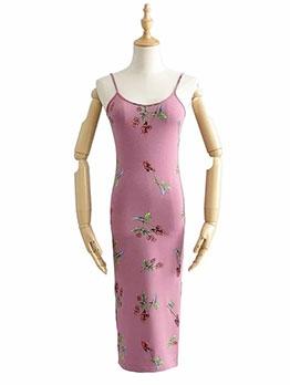 Euro Design U Neck Printed Camisole Dress