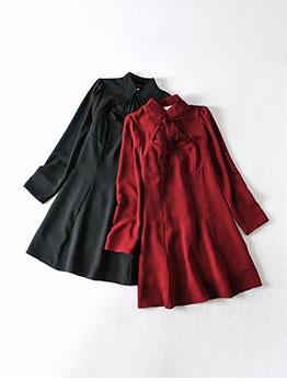 Vintage Pure Tie-Wrap Long Sleeve Dresses For Women