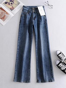 Simple Style High Waist Wide Leg Jeans