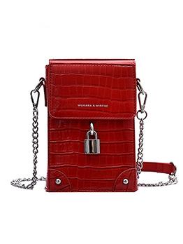 Stone Grain Lock Decor Mini Shoulder Bag