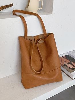 Pure Color Large Capacity Large Shoulder Bag