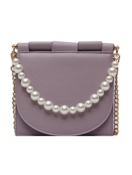 Solid Color Square Shoulder Bags With Faux-Pearl Handle