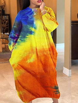 Tie Dye Pockets Plus Size Maxi Dress