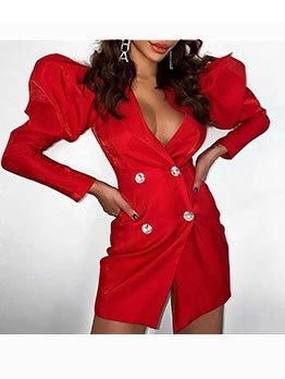Puff Long Sleeve Women Blazer Dress
