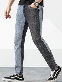 Loose Patchwork Straight Leg Boyfriend Jeans