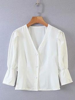 Vintage Puff Sleeve Single-breasted V Neck Blouse