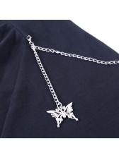 Chic Design Butterfly Pendant Chain Decor Sleeveless Dress