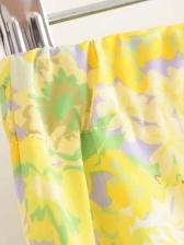 Euro Style Elastic Waist Floral Skirt