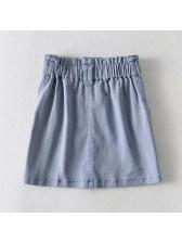 Solid Color High Waist A-line Skirt