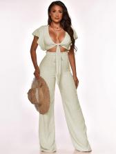 Fashion Solid High Waist Two Piece Pants Set