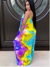 Casual V Neck Tie Dye Sleeveless Maxi Dress