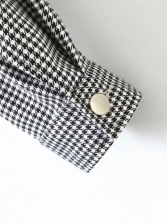 Fashion Button Up Houndstooth Jackets For Women