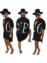 Letter Printed Loose Women Shirt Dress
